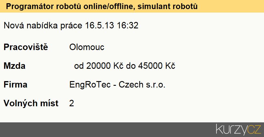 Programátor robotů online/offline, simulant robotů, Technici ve fyzikálních a průmyslových oborech