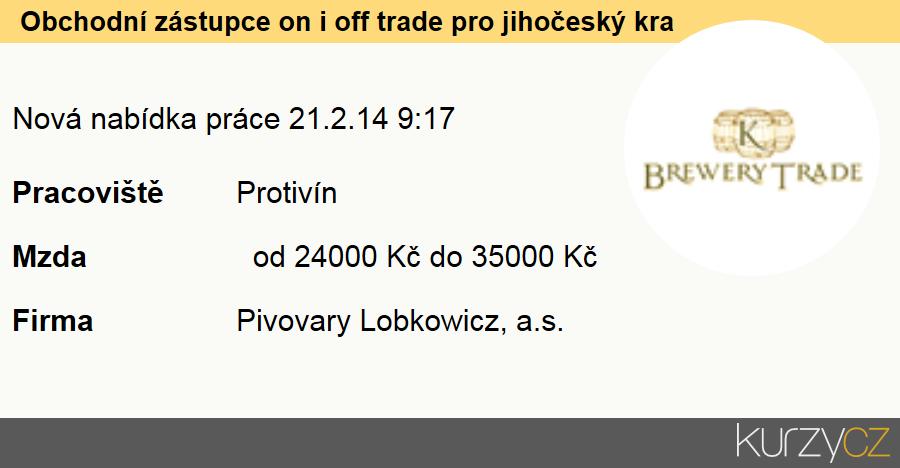 Obchodní zástupce on i off trade pro jihočeský kraj, Obchodní zástupci