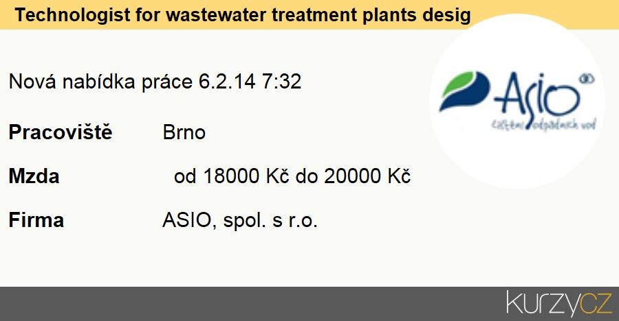 Technologist for wastewater treatment plants design focused on serbian market, Chemičtí technici technologové, normovači a pracovníci v příbuzných oborech