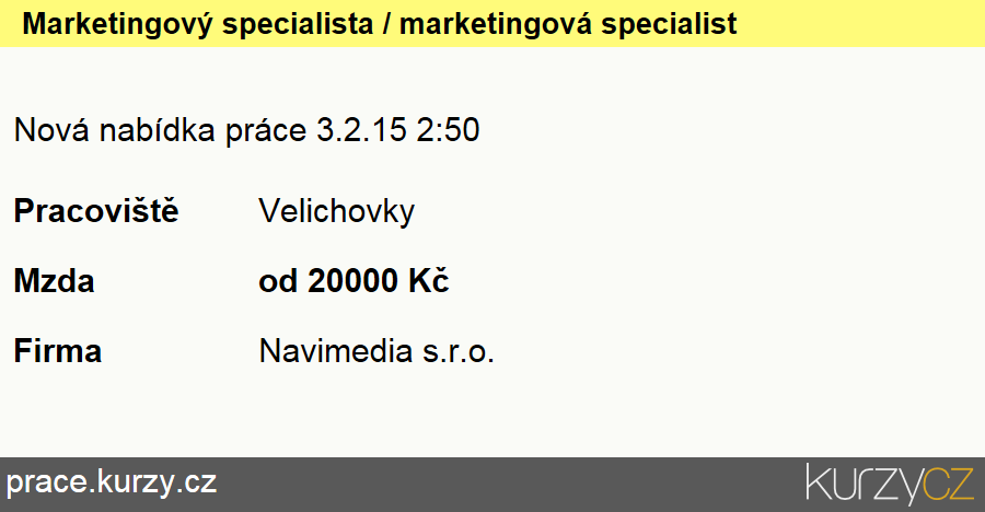 Marketingový specialista / marketingová specialistka, Specialisté v oblasti marketingu