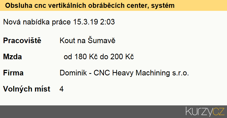 Obsluha cnc vertikálních obráběcích center, systém heidenhain, Seřizovači a obsluha číslicově řízených strojů