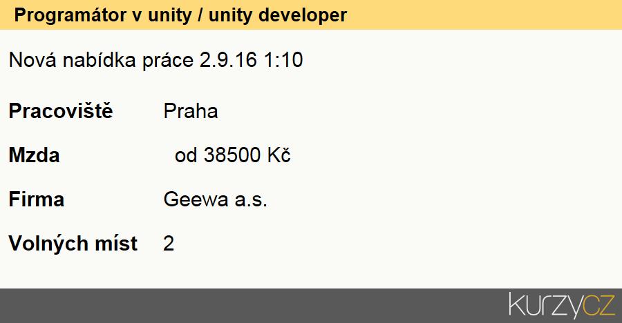 Programátor v unity / unity developer, Programátoři počítačových aplikací specialisté