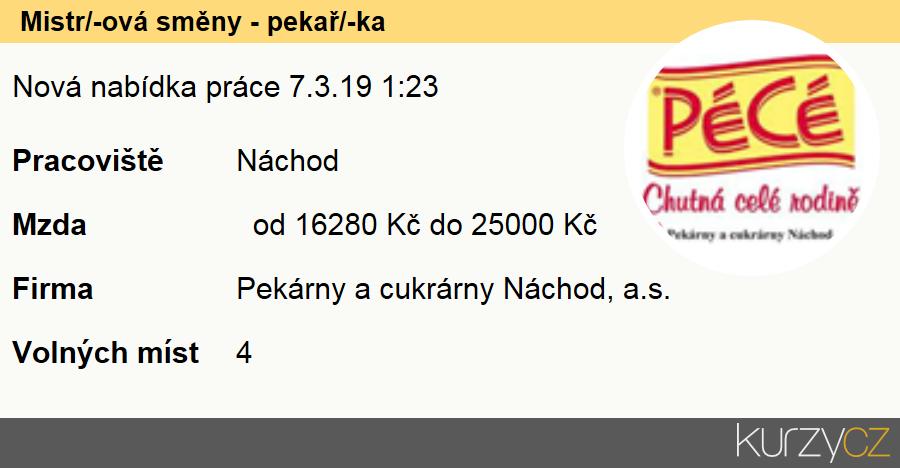 Mistr / mistrová směny - pekař / pekařka, Pekaři
