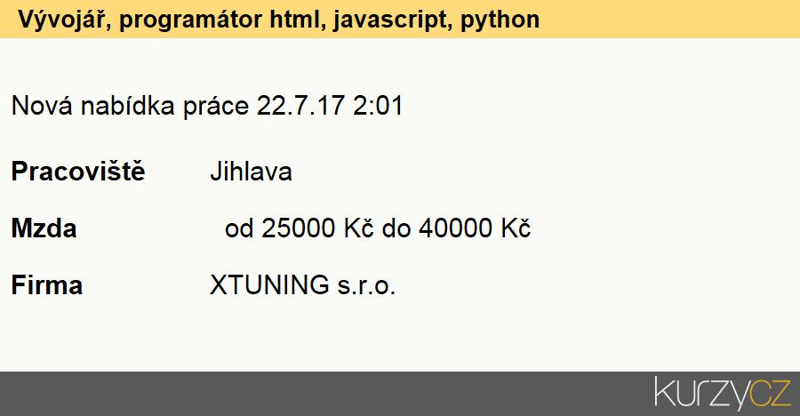 Vývojář, programátor html, javascript, python, Programátoři počítačových aplikací specialisté