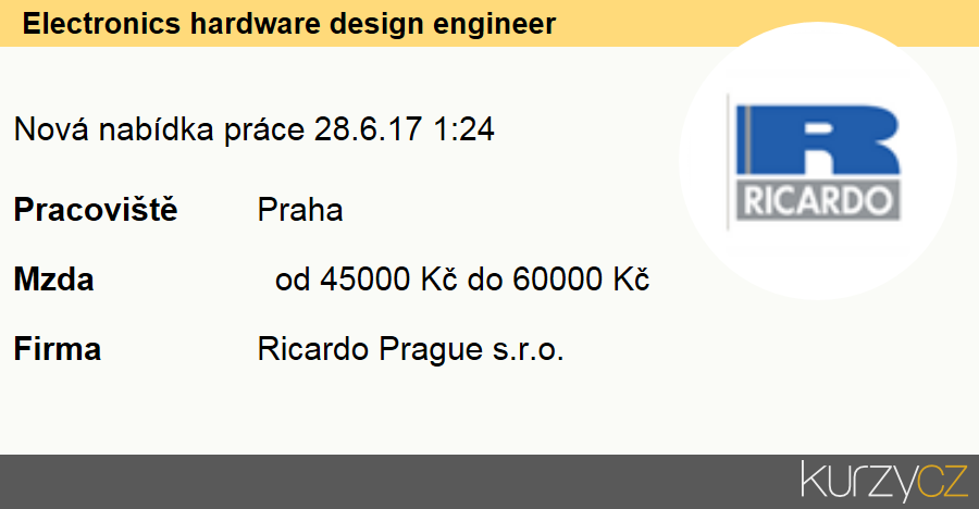 Electronics hardware design engineer - nabídka práce