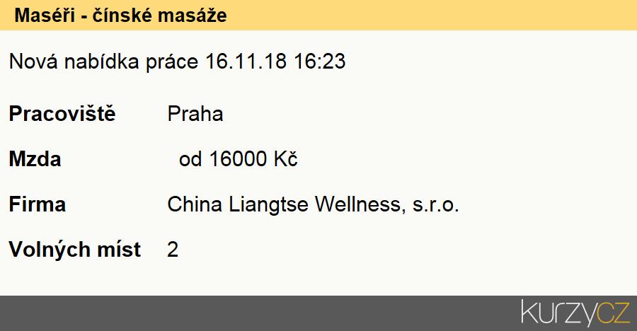 Maséři - čínské masáže, Maséři (kromě odborných masérů ve zdravotnictví)