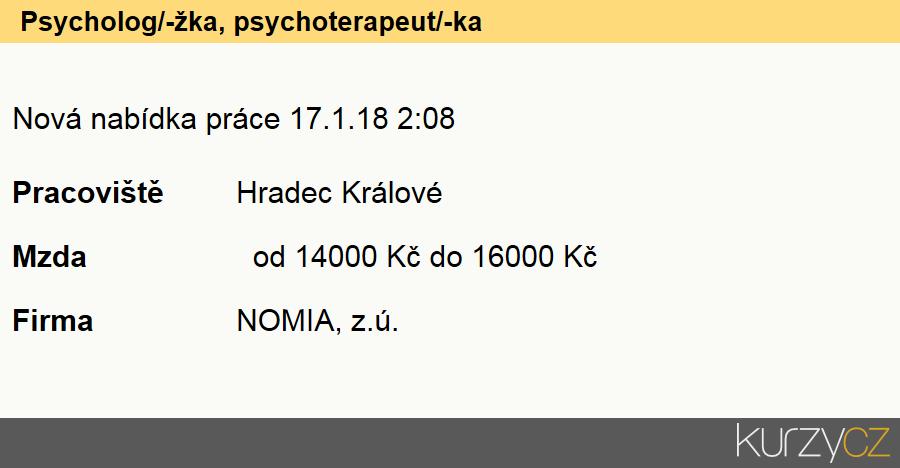 Psycholog/-žka, psychoterapeut/-ka, Psychologové