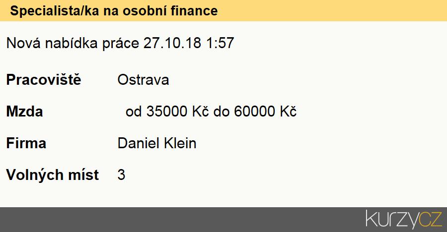 Specialista/ka na osobní finance, Finanční poradci specialisté