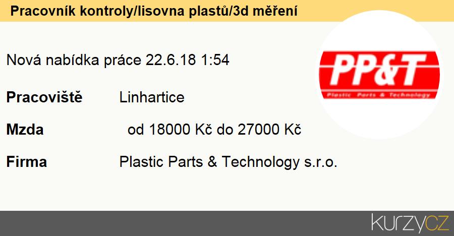 Pracovník kontroly/lisovna plastů/3d měření, Kvalitáři a testovači výrobků, laboranti (kromě potravin a nápojů)