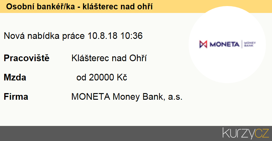 Osobní bankéř/ka - klášterec nad ohří, Finanční poradci specialisté
