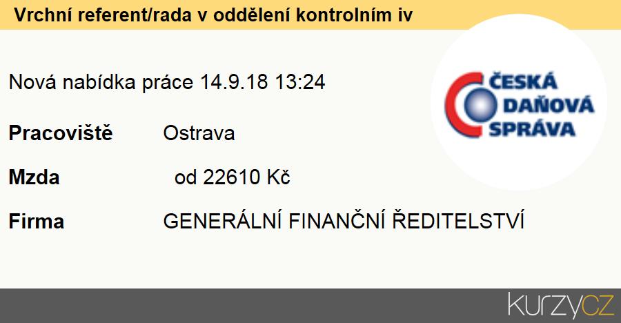 Vrchní referent/rada v oddělení kontrolním iv, Úředníci v oblasti daní