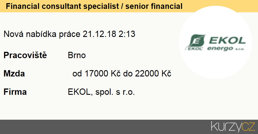 Financial consultant specialist / senior financial manager, Finanční poradci specialisté