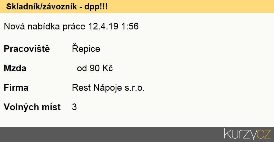 Skladník/závozník - dpp!!!, Pomocní skladníci