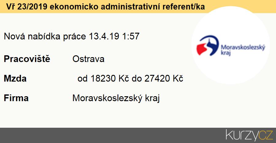 Vř 23/2019 ekonomicko administrativní referent/ka, Ostatní odborní pracovníci v administrativě a správě organizace