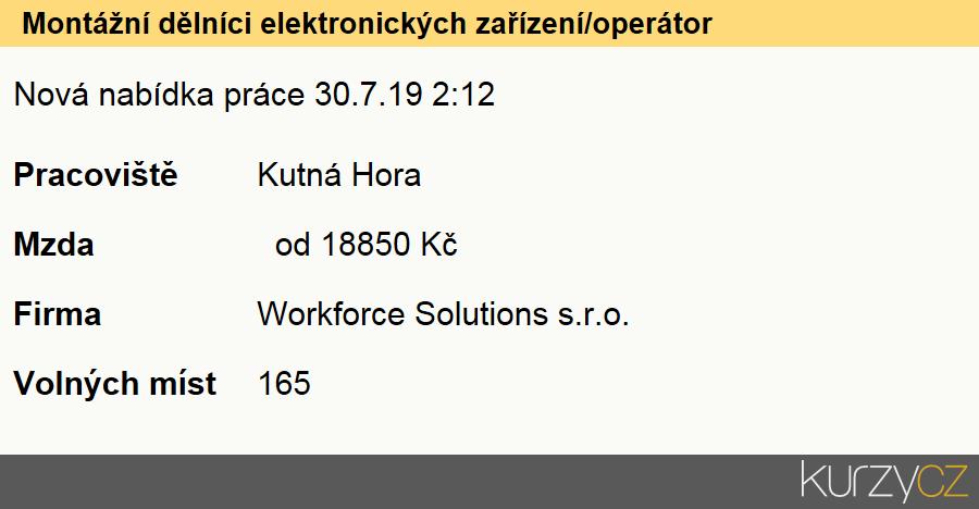 Montážní dělníci elektronických zařízení/operátor, Montážní dělníci elektronických zařízení