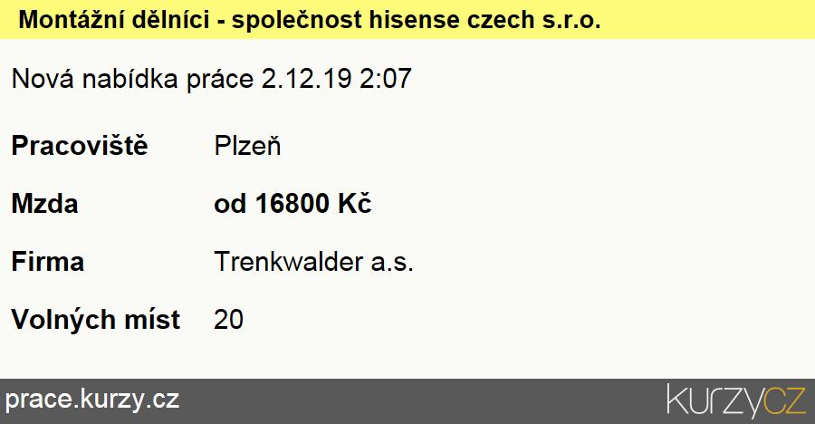 Montážní dělníci - společnost hisense czech s.r.o., Montážní dělníci elektronických zařízení