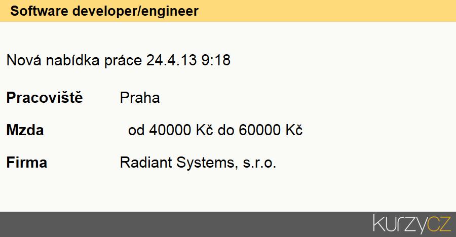 Software developer/engineer, Vývojáři softwaru