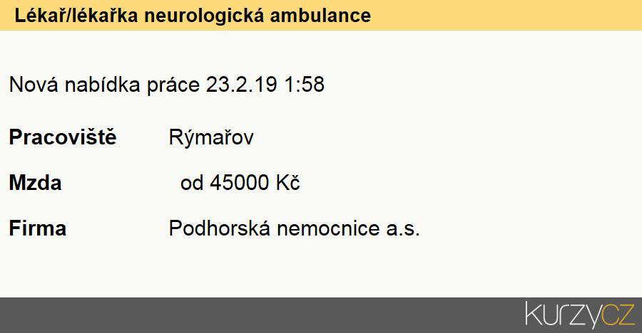 Lékař/lékařka neurologická ambulance, Ostatní lékaři specialisté